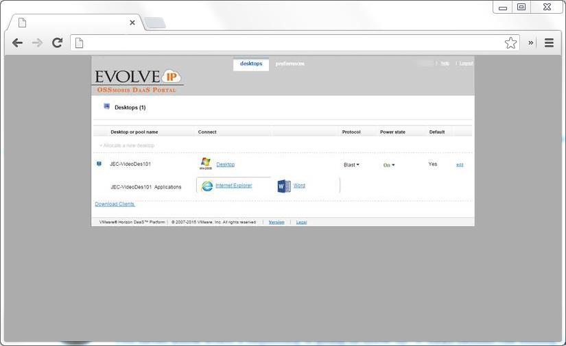 Virtual Desktop End-user Portal