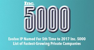 inc 5000 named evolve ip for 5th time. list of fastest growing private companies